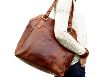 Large Brown Leather Handbag Tote, Leather Shoulder Bag, Leather Bag, Leather Purse