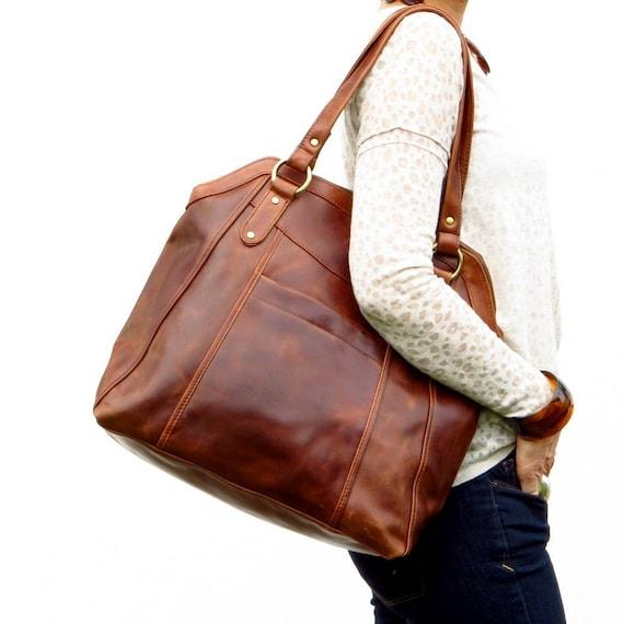 Large Brown Leather Handbag Tote Leather Shoulder Bag  0c66b87e78d98