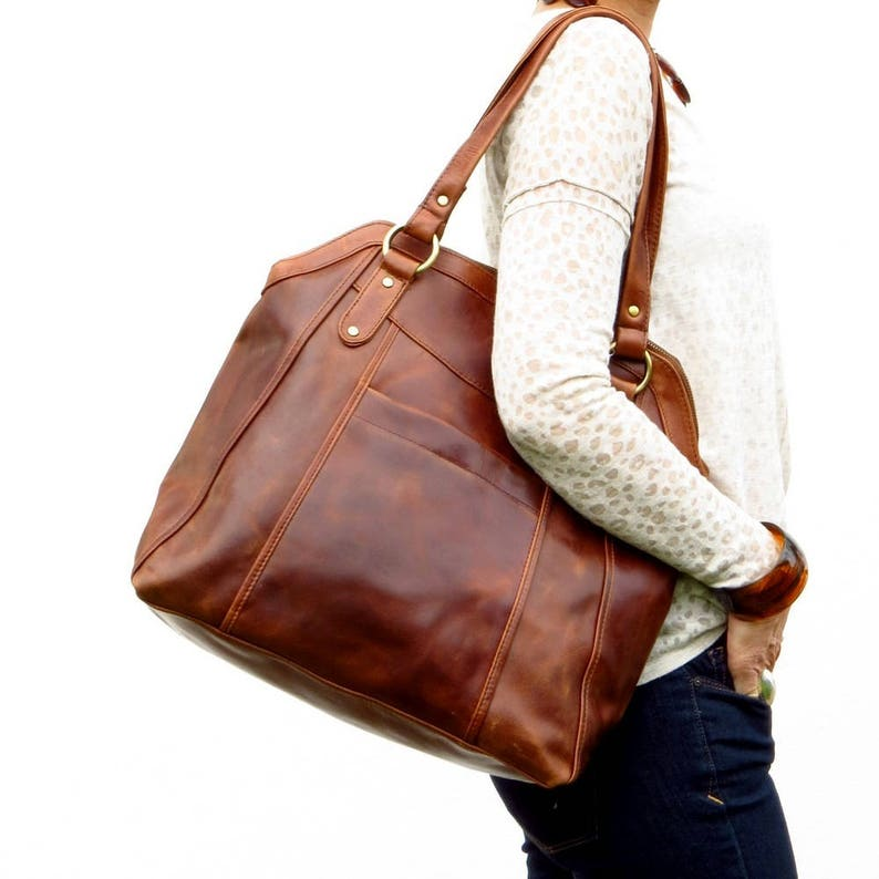 Large Brown Leather Handbag Tote Leather Shoulder Bag image 0