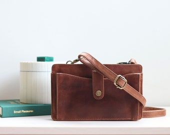 Leather Crossbody bag, Leather Smartphone bag, Festival bag, Distressed Brown Leather Purse