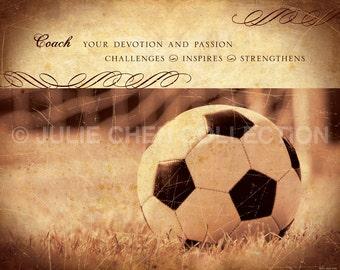 Personalized Soccer Coach Gift - Soccer Art - Coach Thank You - Coach Keepsake - Sports Art - Team Gift - Coach Retirement Gift