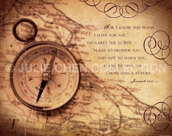 Jeremiah 29:11 Art - Scripture Art - Inspirational Wall Art - Bible Verse Art - Christian Gift - Graduation Gift - GOOD PLANS (Compass)