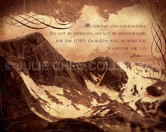 Be STRONG and COURAGEOUS Joshua 1:9 Art - Bible Verse - Religious Boy Room - Christian Home Decor - Religious Graduation Gift - Pastor Gift