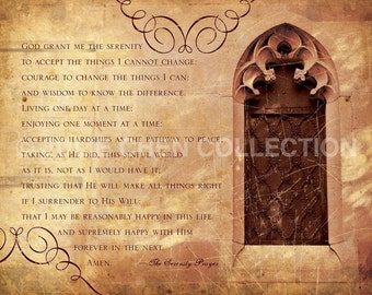 The Serenity Prayer - Inspirational Quote - Inspirational Art - Catholic Gift - AA Recovery Prayer - Motivational Quote - Spiritual Quote