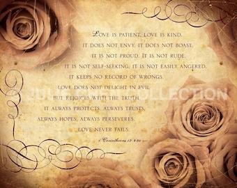 1 Corinthians 13 Art - Bible Verse Photography - Religious Anniversary Gift - Scripture Art - Christian Wedding Gift - LOVE - Roses