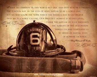 Fireman Gift - Fireman Art - Fireman Quote - Firefighter Retirement Gift - Firefighter Home Decor - Fireman Home Decor - Firefighter Gift
