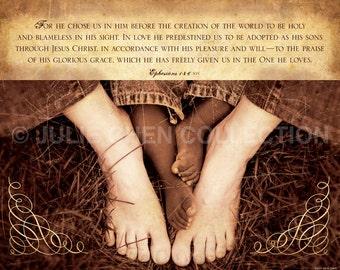 Adoption Gift - Adoption Scripture Quote - CHOSEN - Ephesians 1 Art - Adoption Wall Art - Adoption Keepsake