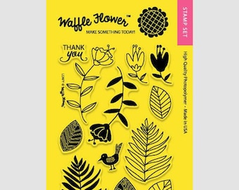Waffle Flower Leafy Stamp set