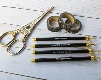 d3129f99ce5a Gold Crown Black Queen-ism Sentiment Ballpoint Pen