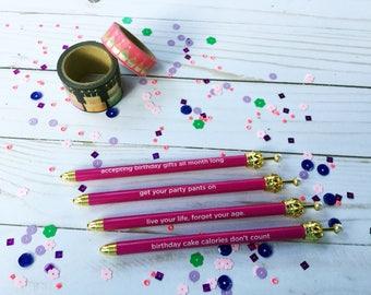 Gold Crown Pink Hearts Sentiment Ballpoint Pen