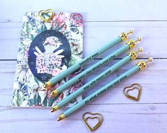 Gold Crown Turquoise Sentiment Ballpoint Pen
