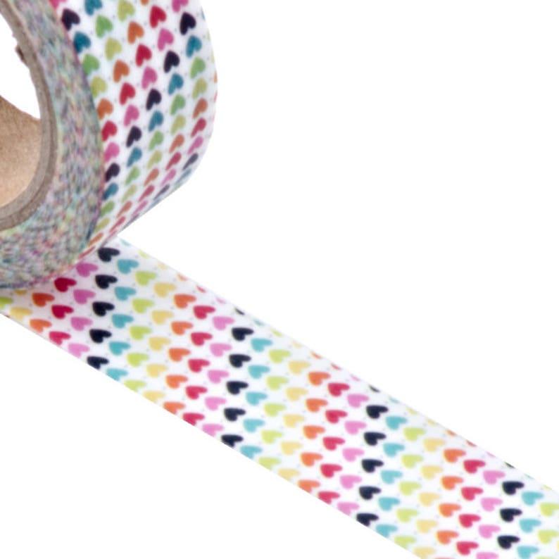 Multicolor Hearts Washi Tape image 0