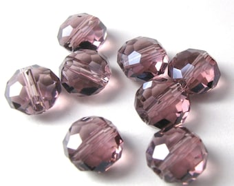 Crystal Faceted Disc Beads in Purple 8mm x 5mm  (Qty - 8)