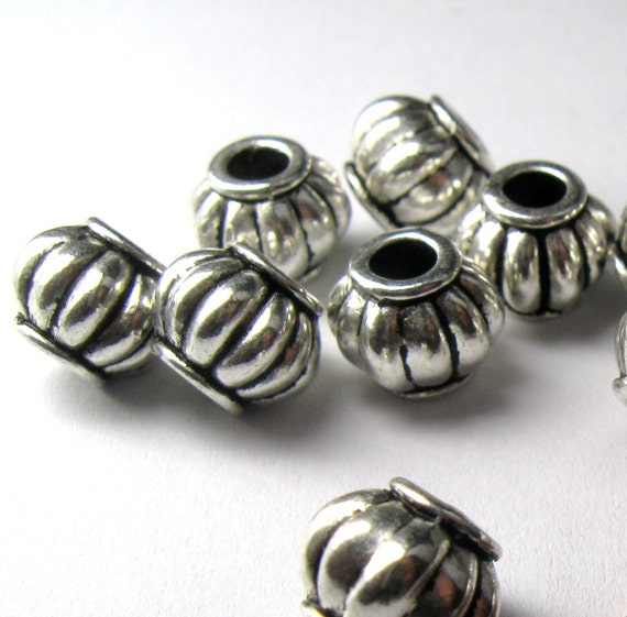 Long Smooth Silver  Plated Melon Beads 12 MM