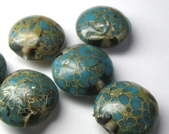 Unique Turquoise and Olive Lentil Disc Lampwork Disc Beads - 5