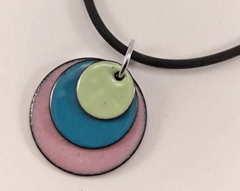 Enamel Jewelry, Triple disc necklace, Lichen Green, Delft Blue and Clover Pink enamel pendant necklace, one of a kind jewelry