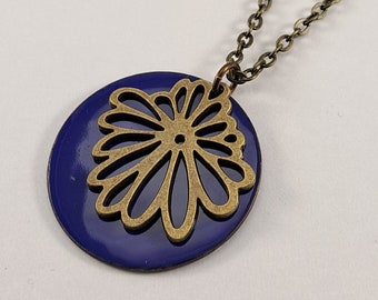 Reversible enamel statement necklace, Flower pendant, Golden Shimmer and Cobalt Blue, 1.5 in disc pendant, nickel free 30in brass chain