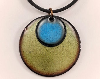 Blue and Green reversible pendant, Copper enamel pendant, two in one necklace, double disc necklace, nickel free brass chain