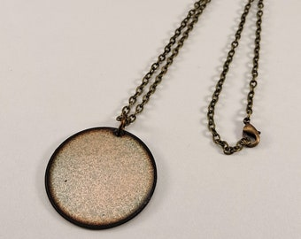 Reversible pendant, Golden Shimmer and Blue Gray Victoria Red Enamel pendant, Two in one necklace, Brass chain or Silicone cord, Nickel free