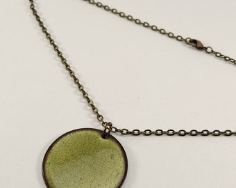 Reversible pendant, Olive Green and Dark Blue and Black Enamel pendant, Two in one necklace, Brass chain or Silicone cord, Nickel free