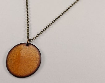 Reversible pendant, Mikado Orange and Blue Gray Enamel pendant, Two in one necklace, Brass chain or Silicone cord, Nickel free jewelry
