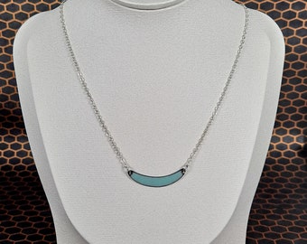 Sweet Spot Reversible copper enamel necklace, Robins Egg Blue and Cobalt Blue, Sterling Silver Chain and Lobster Clasp