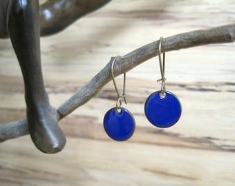 Cobalt Dangle Earrings, Blue Drop Earrings, Royal Blue Earrings, Copper Enamel Jewelry, Nickel Free Kidney Earwires, Handmade Earrings