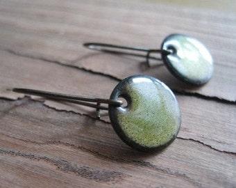Short dangle earrings, Green Copper Enamel Earrings, Drop Earrings, Nickel Free, Kidney Ear Wire Handmade in Wisconsin