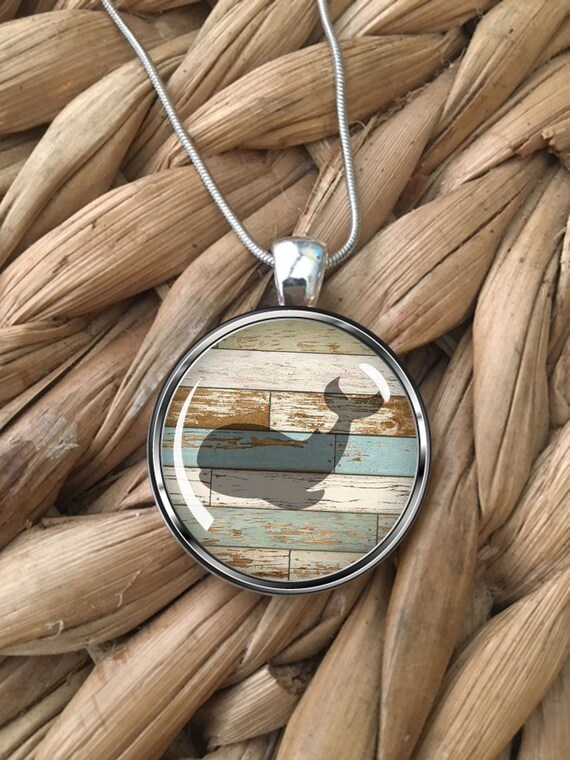 Whale Necklace Seascape Beach Ocean Art Print Picture Mom Mother and Baby Gifts Nature Sea Animals Sterling Silver Glass Dome Pendant