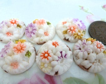 1 Adorable Opaque 60s Japan White Relief ROUND Flower Cab Stone, 19.5mm, C37