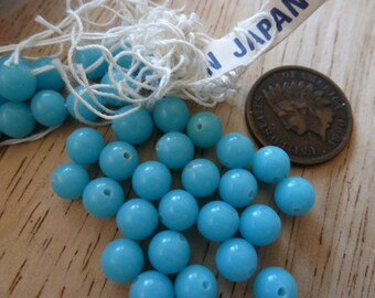 24 Vintage 6mm Turquoise Opaque Beads C34