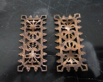 """Vintage Brass Filigree, 1940s Intricate Ornate Rectangular Connectors, Unplated Jewelry Findings, 30x14mm (approx. 1.2 x .5""""), 2 pcs. (C25)"""