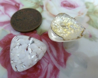 2 White Speckled Foiled Triangle Triangular German or Japan Glass Cabs 17x18mm C45