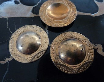 2 Vintage Brass Dapped Center Stampings C24