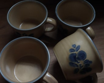 vintage 1960s FLORA Ceramic Coffee Tea Mugs / retro 60s FOLK ART Pottery /Made by Pfaltzgraff