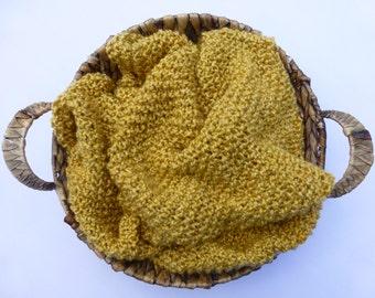 Soft as a Cloud Blanket - Golden Wheat, Newborn Photo Prop, Knitted Blanket