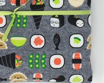 Flannel Receiving Blanket - Happy Sushi - Large flannel lined blanket