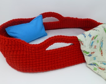 Crocheted Doll Bed, Moses Basket and blanket, Red/Cars