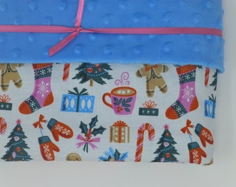 Large Minky Blanket - Cloud 9 Tinsel Christmas Trimmings - Minky lined cotton baby blanket
