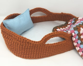 Crocheted Doll Bed, Moses Basket and Blanket, Pumpkin Orange / Granny Square