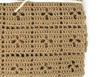 Light brown Filet Crochet Flower Blanket, antique pattern blanket