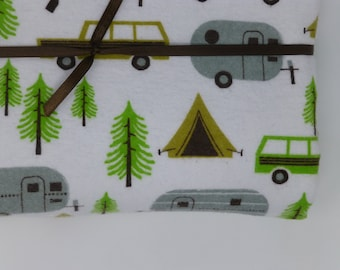 Receiving Blanket - retro camping, green trailers - Large lined organic cotton blanket