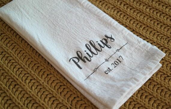 Wedding Gift Towels: Personalized Tea Towel. Flour Sack Towel. Wedding Gift.