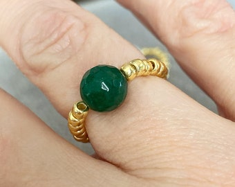 Stackable Bead Ring Layering Rings Dainty Stretch Ring Emerald Jade Individual Stretch Ring