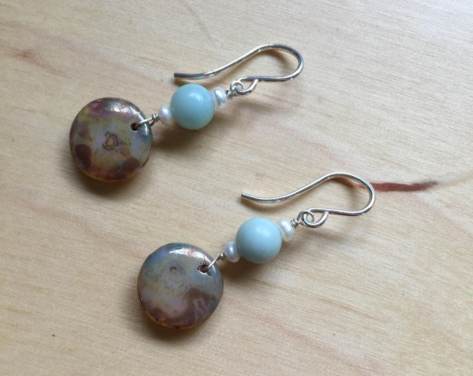 Insouciant Studios Paddle Earrings Amazonite and Pearl