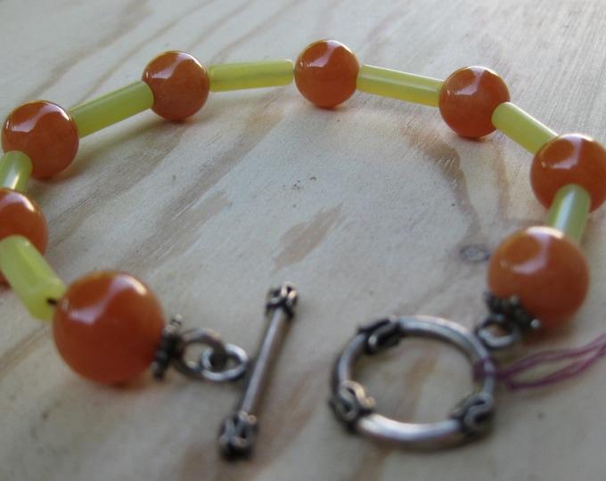 Insouciant Studios Orange Crush Bracelet Carnelian and Serpentine
