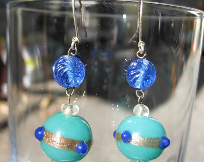 Insouciant Studios Queens Earrings Sterling Silver and fancy lampwork Glass