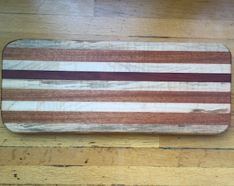 Medium Mahogany and Maple Cutting and Serving Board
