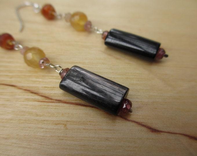 Insouciant Studios Orangerie Earrings Hypersthene Carnelian and Pink Spinel