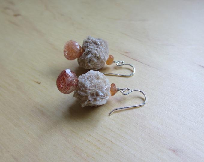 Insouciant Studios Dry Rose Earrings Selenite and Sunstone